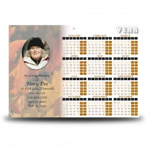 Autumn Leaves Calendar Single Page