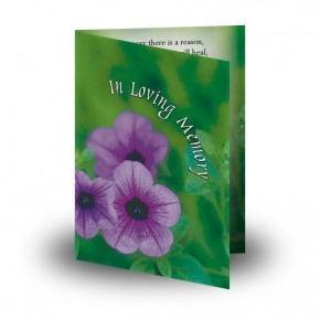 Purple Petunia Folded Memorial Card