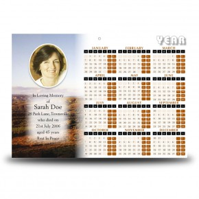 West Midlands England Calendar Single Page