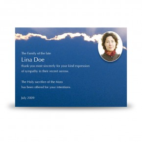 Cloudburst Back Acknowledgement Card