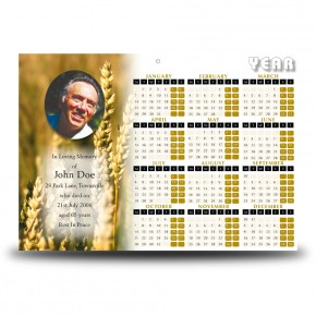 Wheat Co Carlow Calendar Single Page