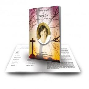Cross & Tree Sunset Funeral Book