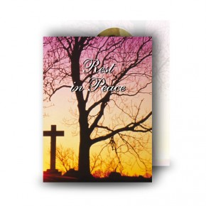 Cross & Tree Sunset Standard Memorial Card
