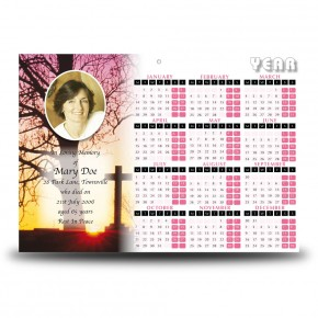 Cross & Tree Sunset Calendar Single Page