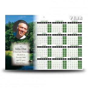 River & Trees Co Roscommon Calendar Single Page