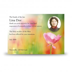 Poppy Flower Acknowledgement Card