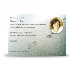 Footsteps In The Sand Acknowledgement Card