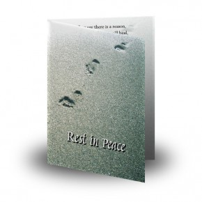 Footsteps In The Sand Folded Memorial Card