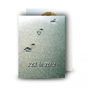 Footsteps In The Sand Standard Memorial Card