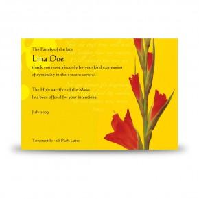 Late Spring Gladioli Acknowledgement Card