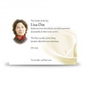 White Peace Lily Acknowledgement Card