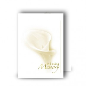 White Peace Lily Standard Memorial Card
