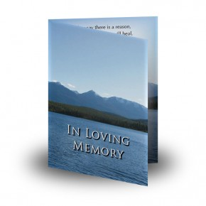 Canadian Mountain Scene Folded Memorial Card