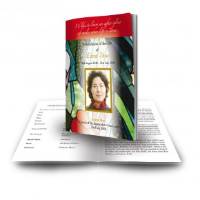 Stained Glass Flowers Funeral Book