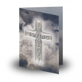 Cross Amid Clouds Folded Memorial Card