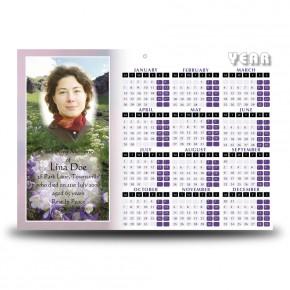 Flowers Field Mountains Calendar Single Page