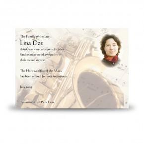 Saxophone Acknowledgement Card