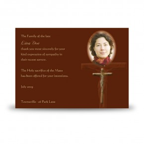 Wooden Cross Acknowledgement Card