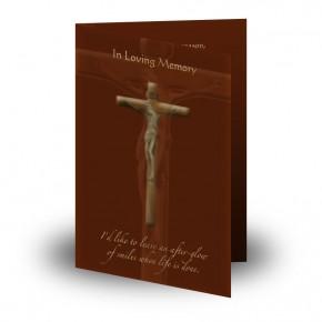Wooden Cross Folded Memorial Card