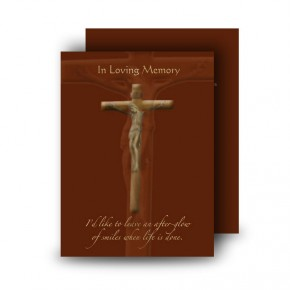 Wooden Cross Standard Memorial Card