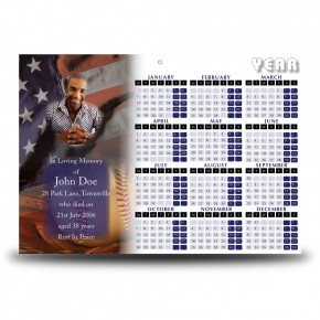 USA Baseball Calendar Single Page
