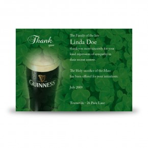 An Irish Toast To Remember Acknowledgement Card