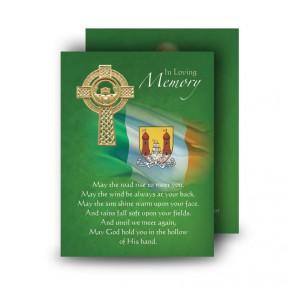 Irish Flag And Family Crest Standard Memorial Card