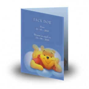 Winnie The Poo Boy Folded Memorial Card