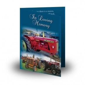 Vintage Tractors Folded Memorial Card
