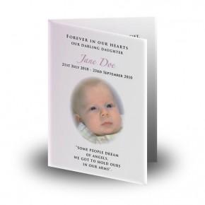 Teddybear Girl Folded Memorial Card