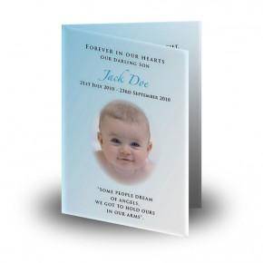 Teddybear Boy Folded Memorial Card