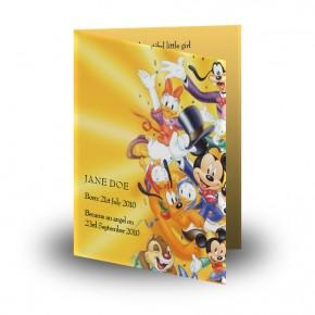 Disney Child Girl Folded Memorial Card