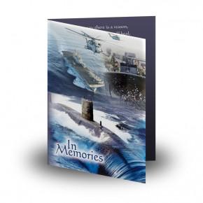 Navy Folded Memorial Card