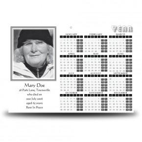 Black and white border No 2 Calendar Single Page