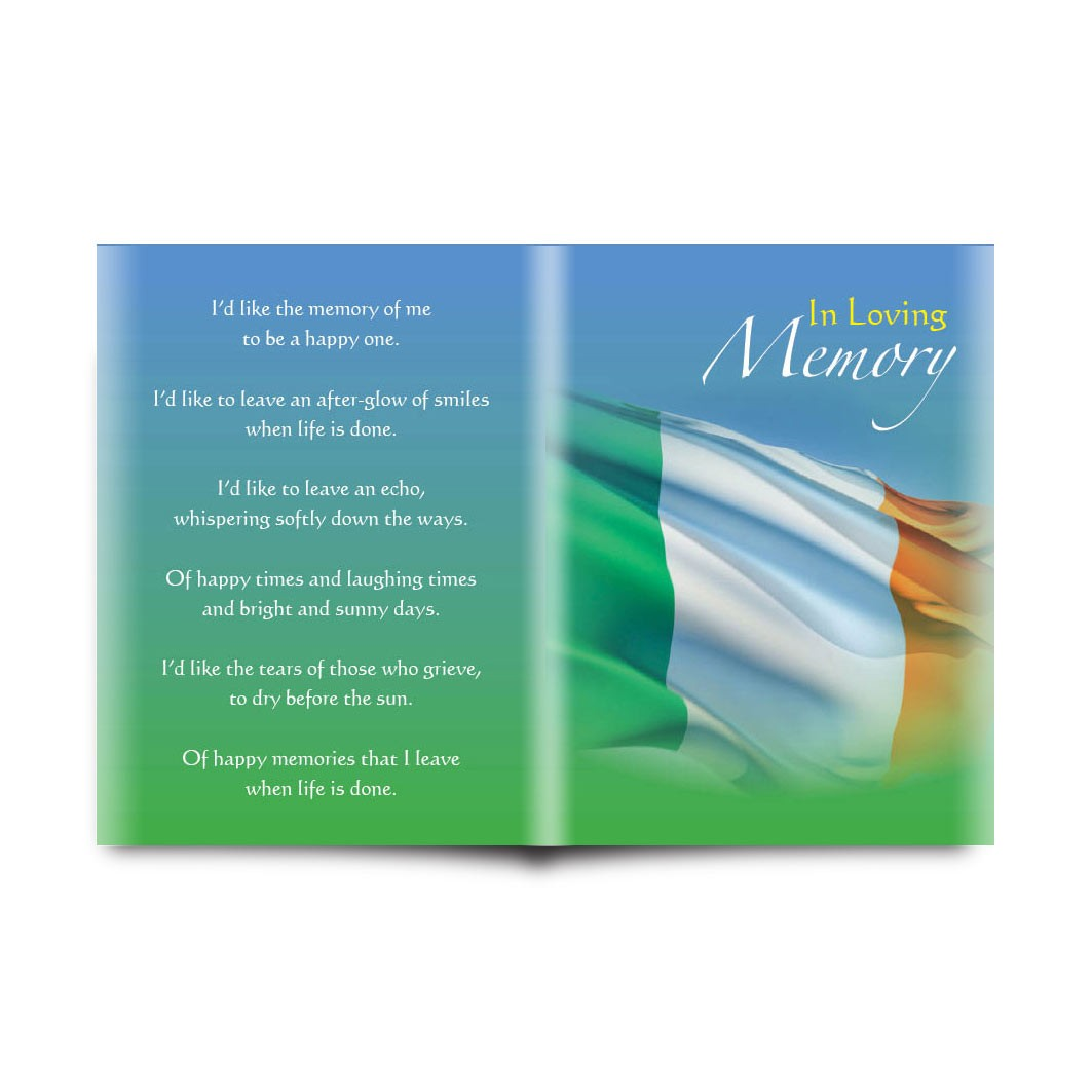 irish flag folded memorial card memf 0152