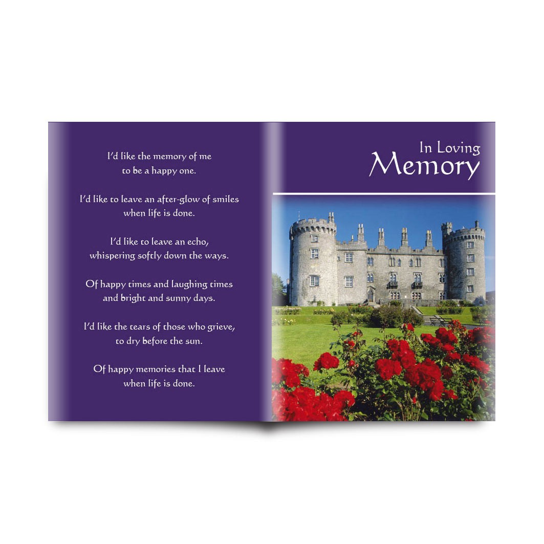 Kilkenny castle folded memorial card memf 0227 kilkenny castle reheart Images