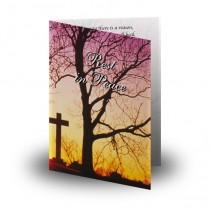 Cross & Tree Sunset Folded Memorial Card