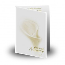 White Peace Lily Folded Memorial Card