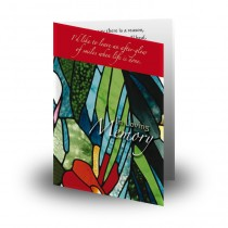 Stained Glass Flowers Folded Memorial Card