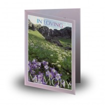Flowers Field Mountains Folded Memorial Card