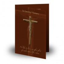 Wooden Cross Folded Memorial Card
