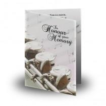 Musical Flute Folded Memorial Card