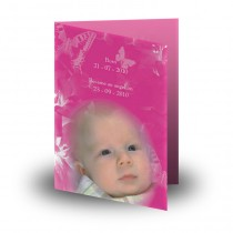 Girls Pink Butterfly Folded Memorial Card