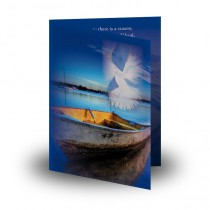 Peaceful Dove And Boat Mother Teresa Folded Memorial Card