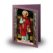 Stained Glass Eucharist And St Paul Folded Memorial Card