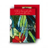 Stained Glass Flowers Standard Memorial Card