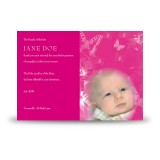 Girls Pink Butterfly Acknowledgement Card